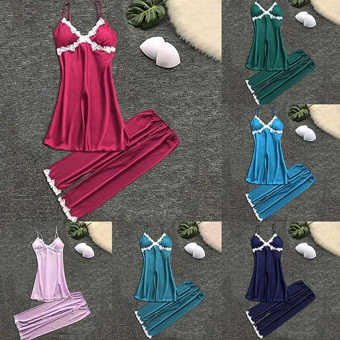 Proumy Conjunto de Pijamas de Seda Mujer Verano Camisola de Encaje Floral con Pantalones Largos Ropa de Dormir Dos Piezas Bata Cuello V de Flores Blancas ...