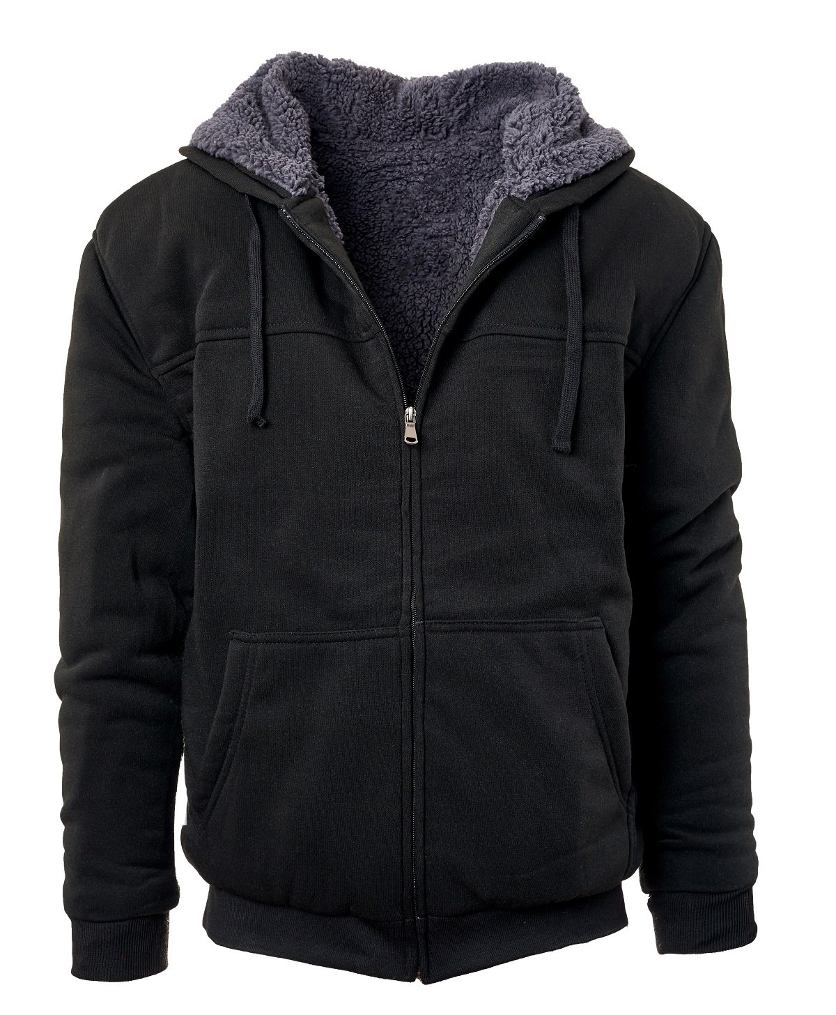 Glamsia Fresh Groove Heavyweight Sherpa Lined Full Zip Men's Fleece Hoodie (Black-Char,L) by Glamsia