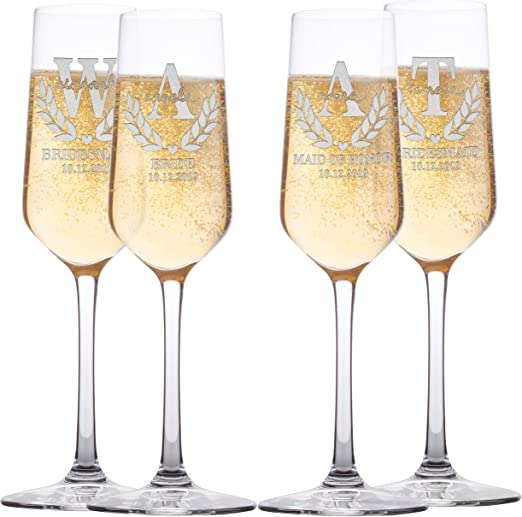Maid of Honour gift Personalised Engraved Champagne Flute Glass Bridesmaid Gift