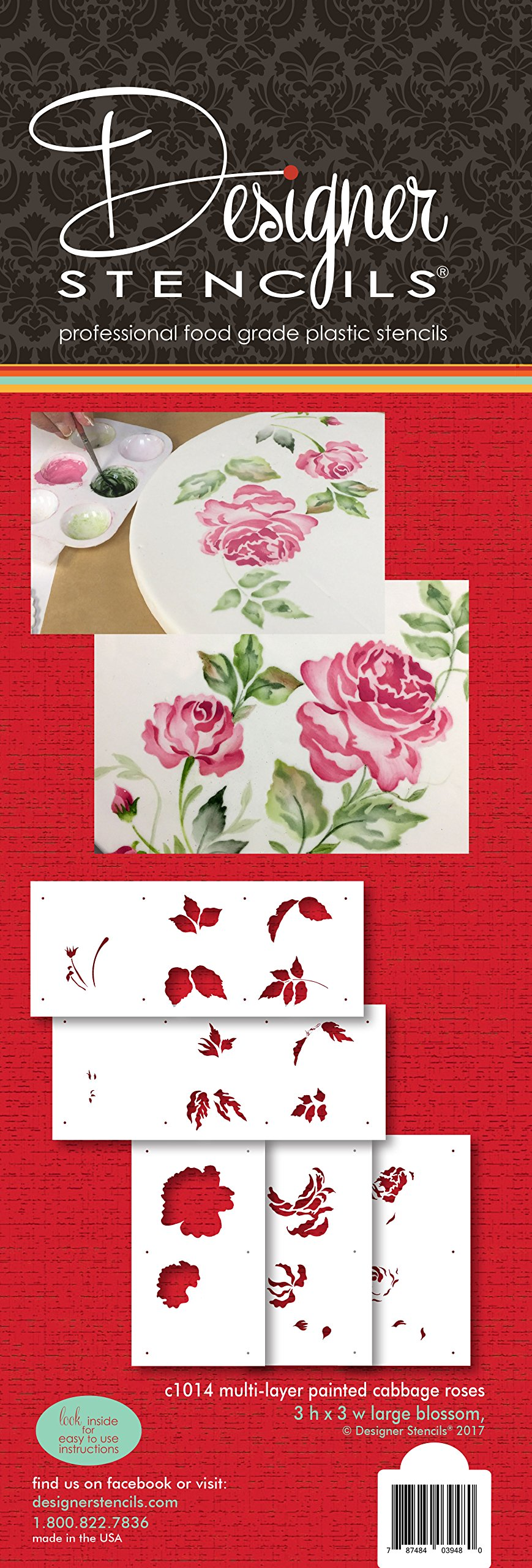 Multi-layer Painted Cabbage Roses Cake Stencil C1014 by Designer Stencils