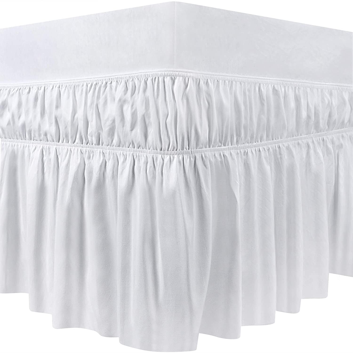 Utopia Bedding Queen Elastic Bed Ruffle Skirt (White)