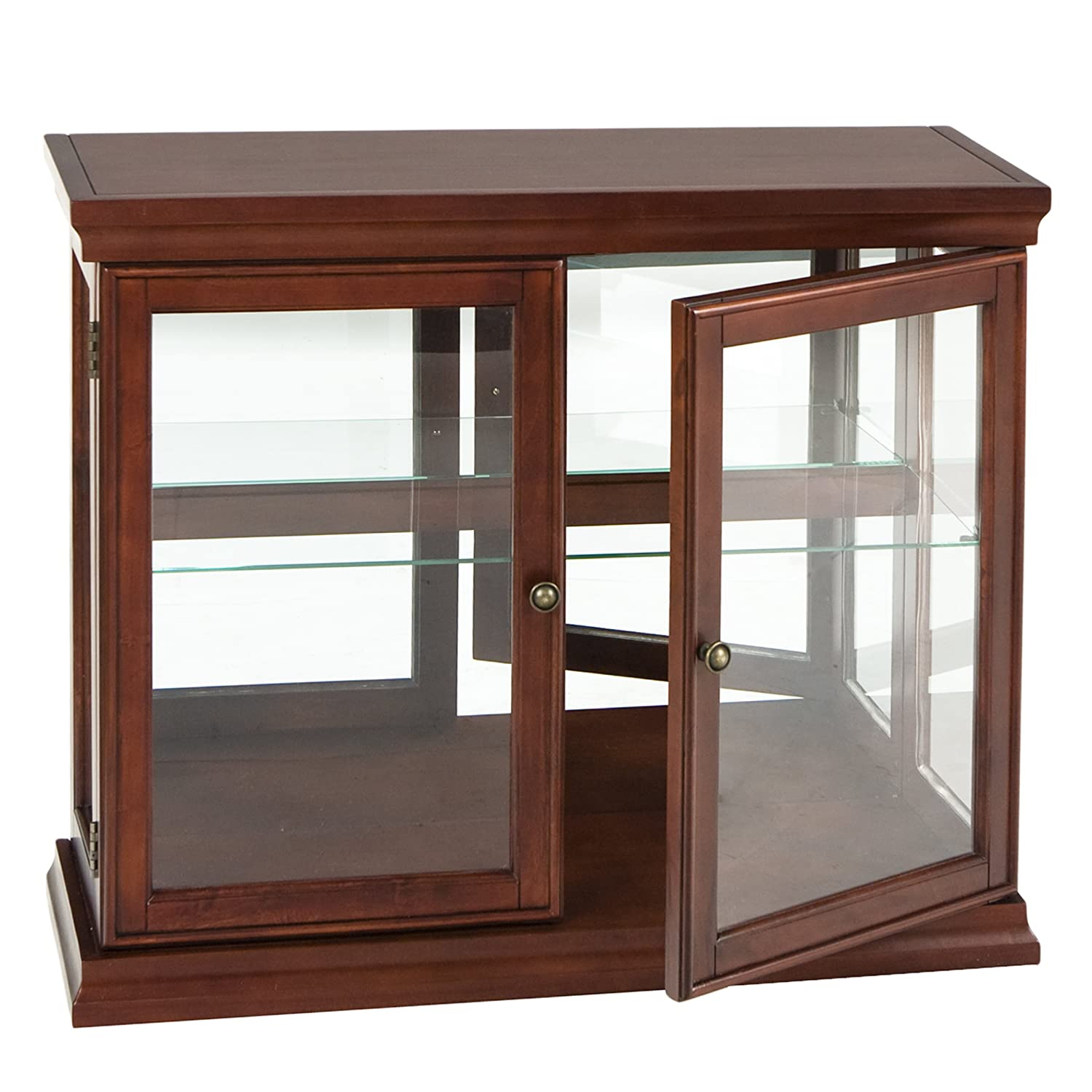 Southern Enterprises Double Door Curio with Mirrored Back Wall, Classic Mahogany Finish Inc. BE0868