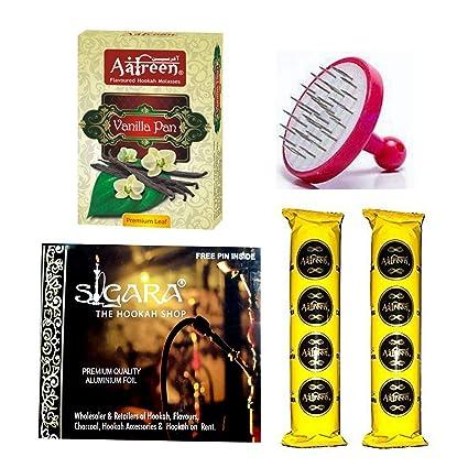 Aafreen Hookah Flavour + Aafreen Charcoal + SIGARA Foil Paper + Foil Puncture)/ Complete Hookah Making Materials.