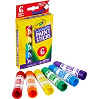 Crayola 6ct Washable Paint Sticks, 6 Vibrant Colours, Less Mess Painting, Quick Drying, Smooth Laydown, School Project…