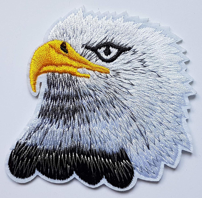 7,7x7,7cm T/ête Aigle Noir Blanc Patch Oiseau Rapace Eagle Biker Motard /Écusson Tissus Thermocollant Cameleon-Shop