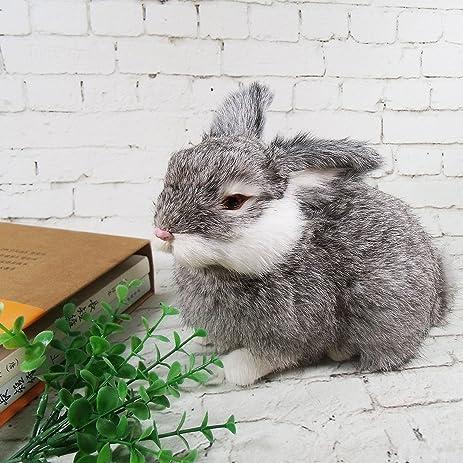 amazon com realistic bunny lifelike rabbits plush fur animal furry