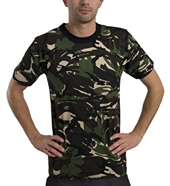 dc86cee4f1d Mens Army Colour Color Camo Combat Style Camouflage Short Sleeve T Shirt  TopColour Woodland Size