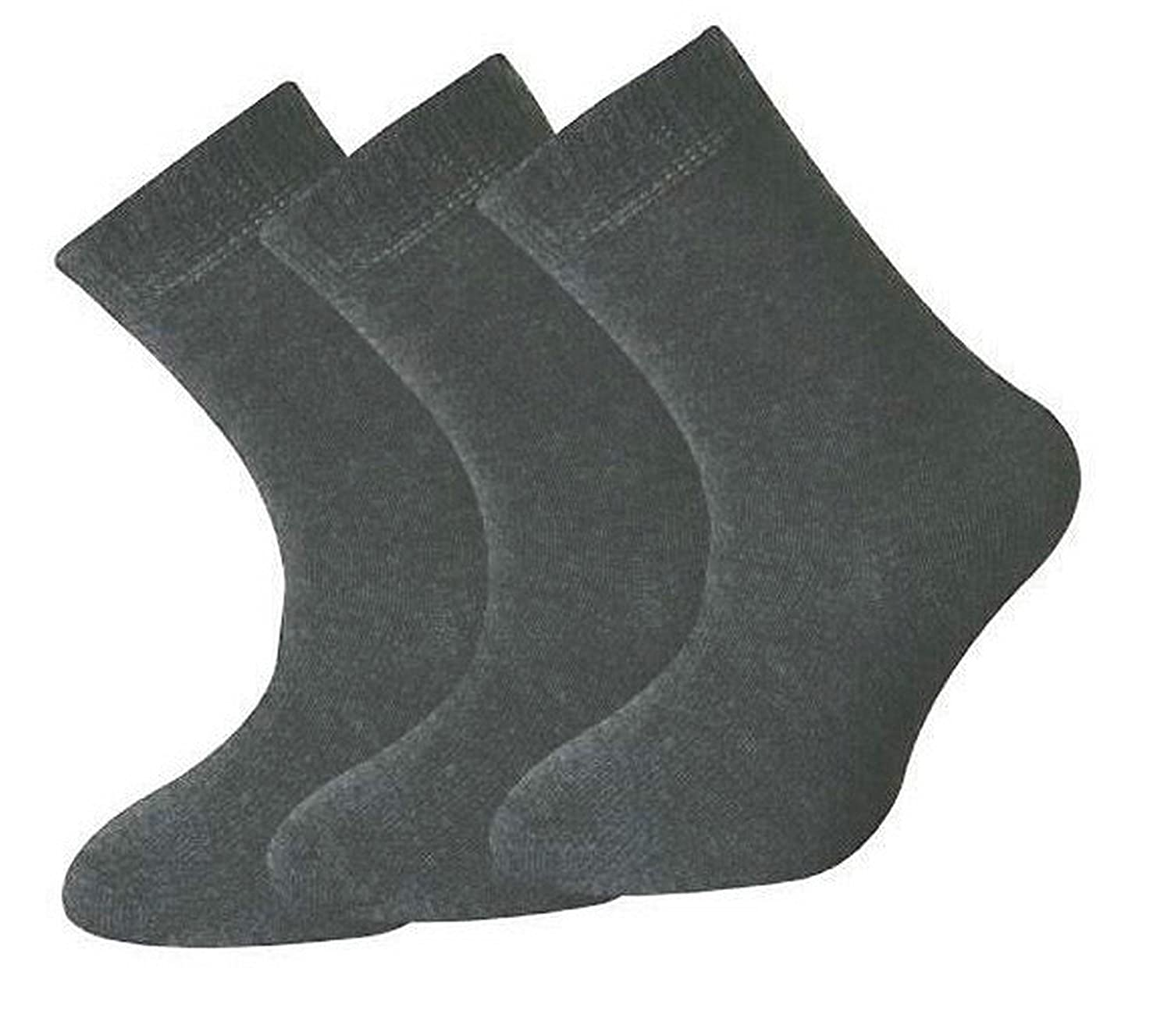 12 Pairs Boys Girls Short Ankle Cotton Rich Plain School Socks Charcoal Grey Size 3-6 Years