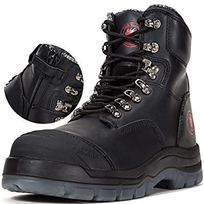 ROCKROOSTER Mens Work Boots Zipper, Steel Toe, 6'' Safety Shoes(A245Z 10) | Industrial & Construction Boots