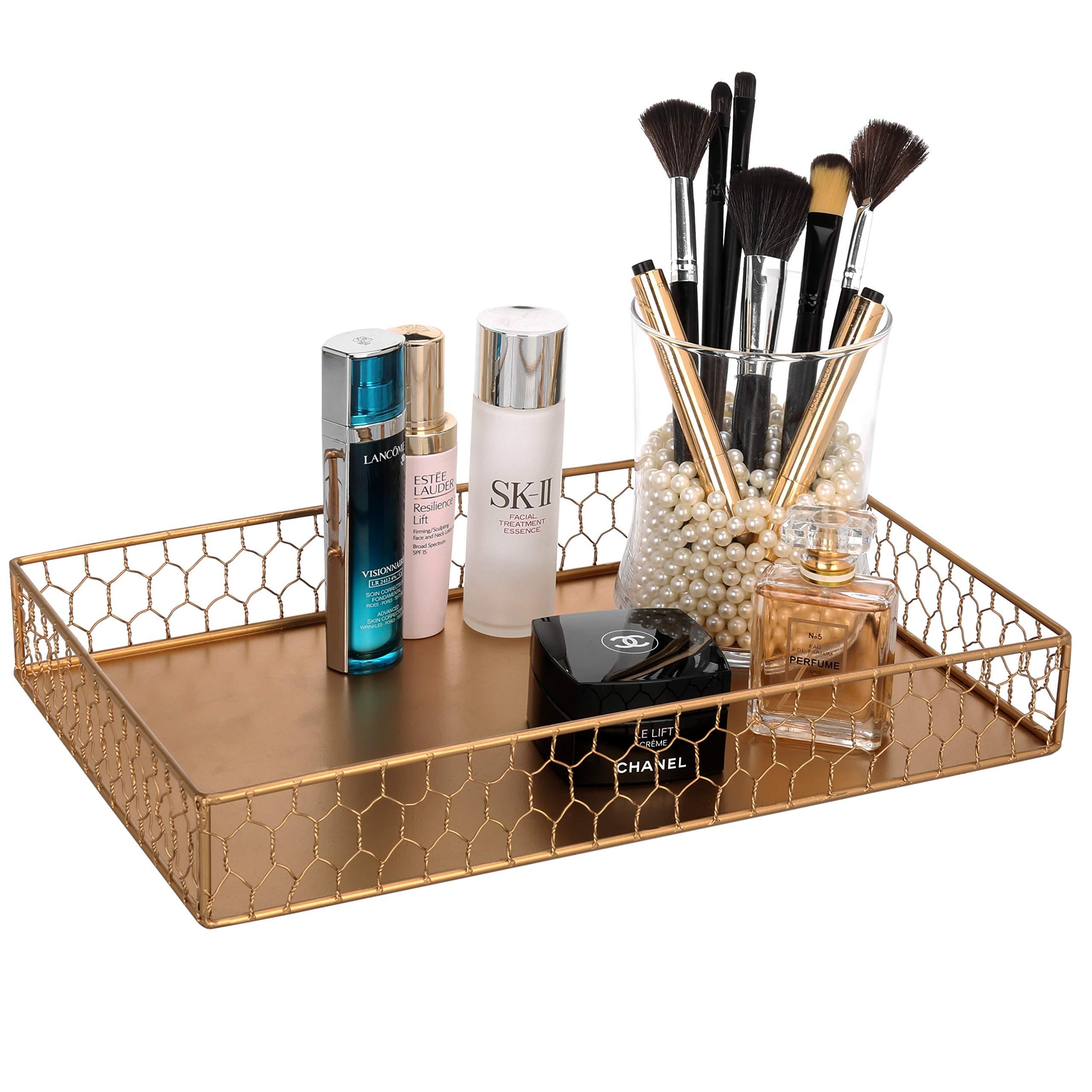 MyGift Vintage Gold-Tone Chicken Wire Bathroom Vanity Tray, 14 x 9 Inch by MyGift