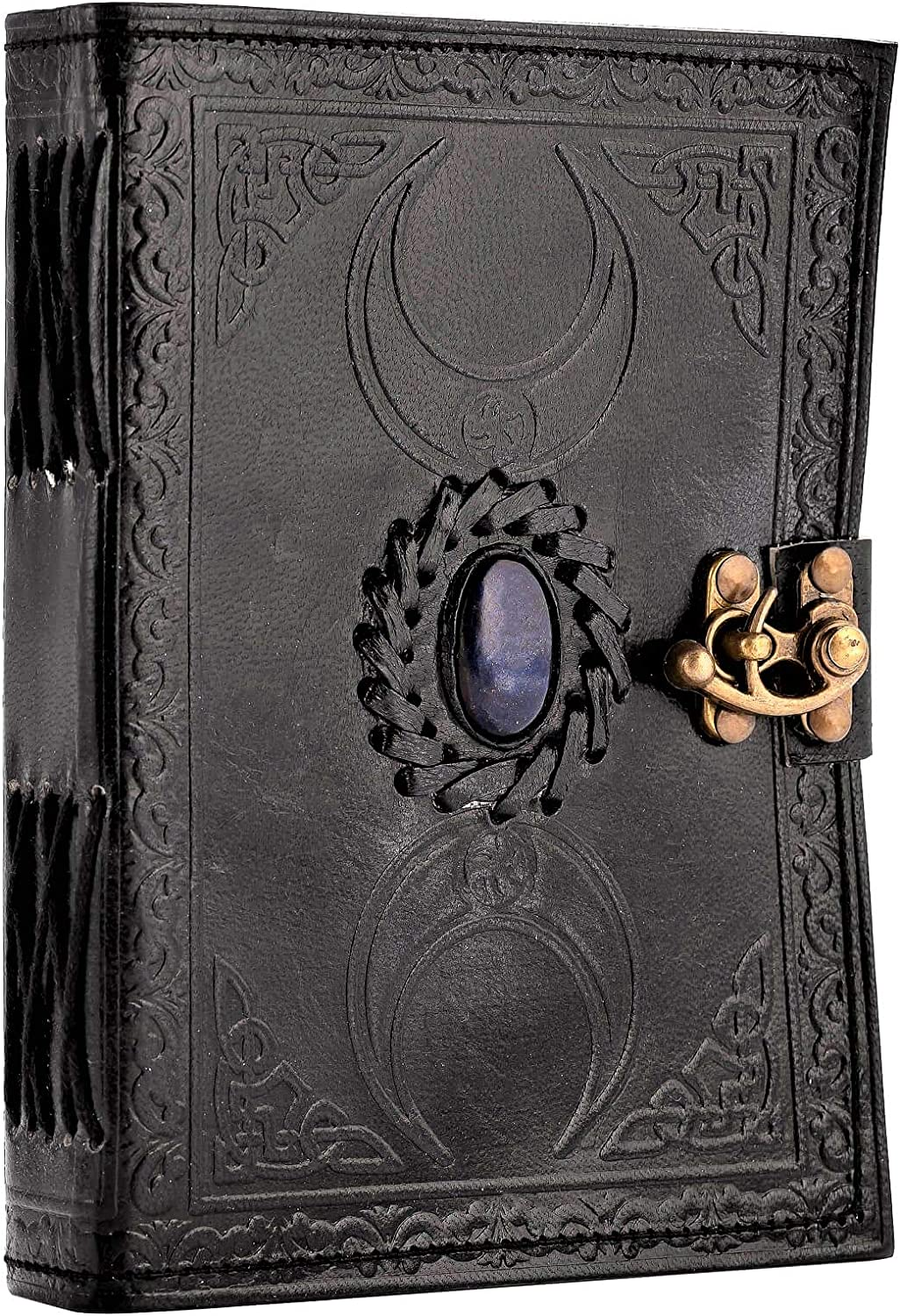 3 Moon Celtic Bullet Journal Book of Shadows /& Magic Spells Unlined Writing Notebook Drawing Sketchbook Scrapbook Personal Organizer Daily Diary Urban Leather Black Lapiz Halloween Journal