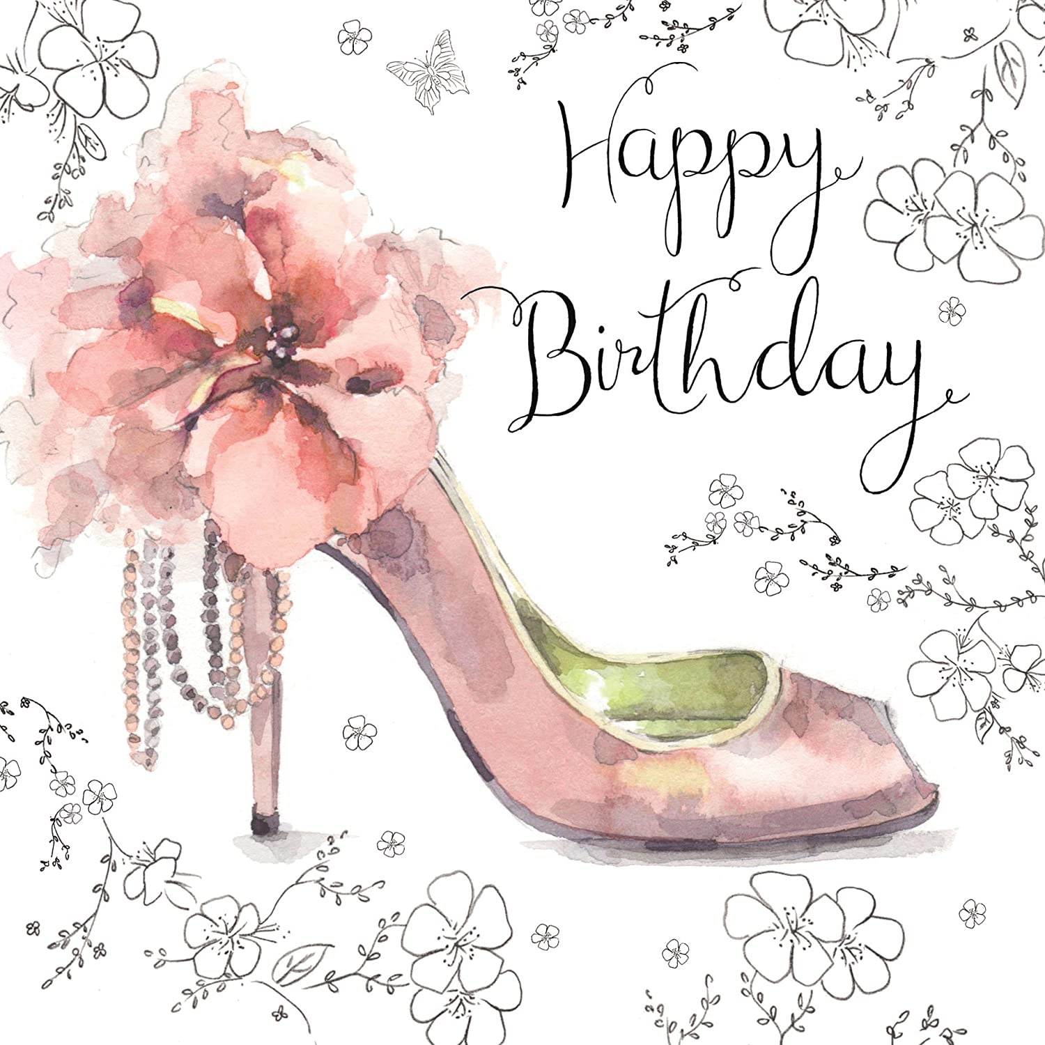 Twizler Happy Birthday Card For Her With Silver Foiling Unique Watercolour Effect And Pink Shoe