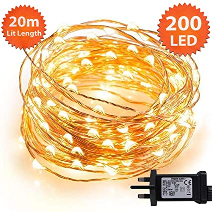 detailed look bda9e f5025 Micro Fairy Lights 200 LED 20m Warm White Indoor Christmas Lights Festive  Wedding Bedroom Novelty Decorations Tree String Lights Mains Powered 65ft  ...