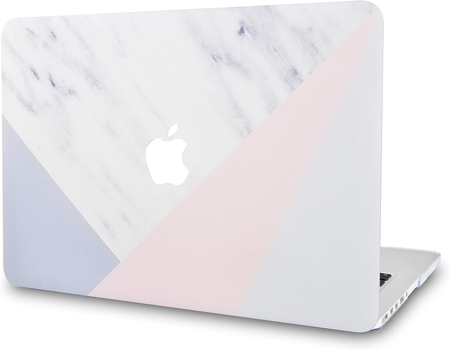 "KECC Laptop Case for MacBook Air 13"" Retina (2020/2019/2018, Touch ID) Plastic Case Hard Shell Cover A2179/A1932 (White Marble with Pink Grey)"