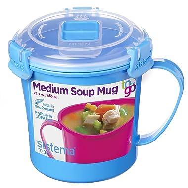 Sistema To Go Collection Microwave Soup Mug, 22.0 oz./0.7 L, Blue
