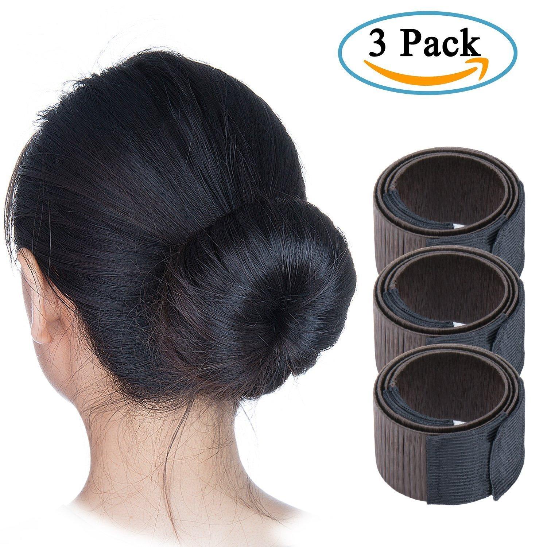 Perruque de Cheveux Bun Maker, Diealles French Twist Bun Chignon Donut Hair Piece Bob Maker DIY Tool - Noir (3 Pack)