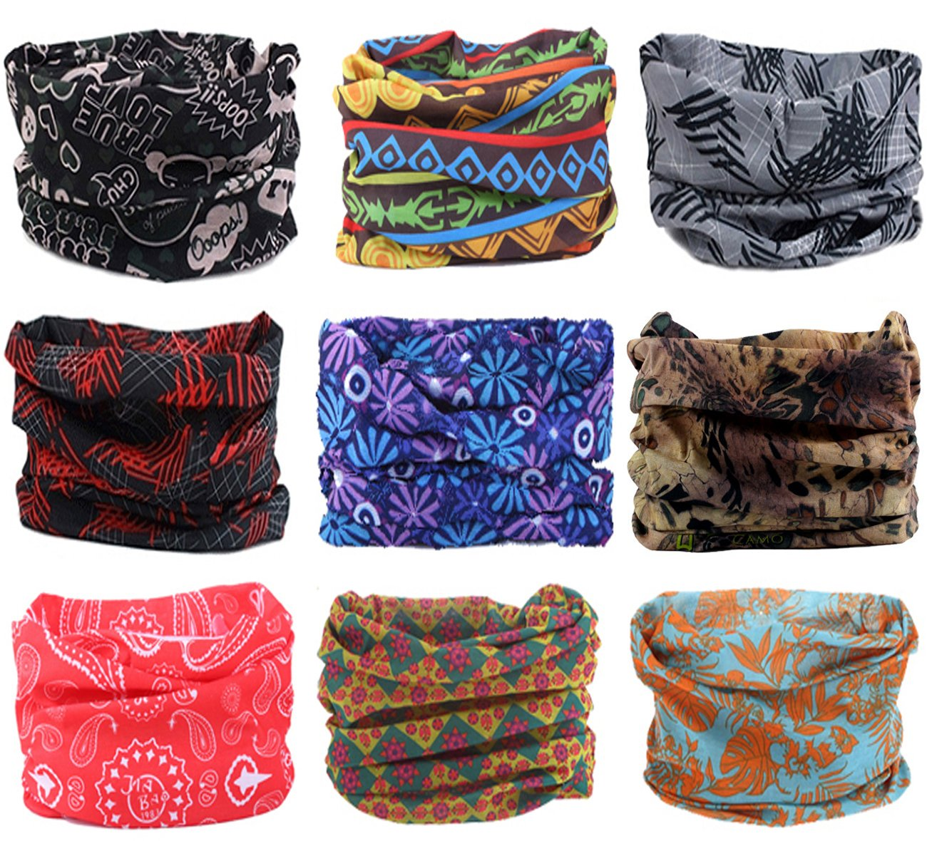 Womens Hairband Athletic Headwrap Outdoor Multifunctional Headwear KINGREE 9PCS Headbands Mens Sweatband High Elastic Headband with UV Resistance Sports Magic Scarf