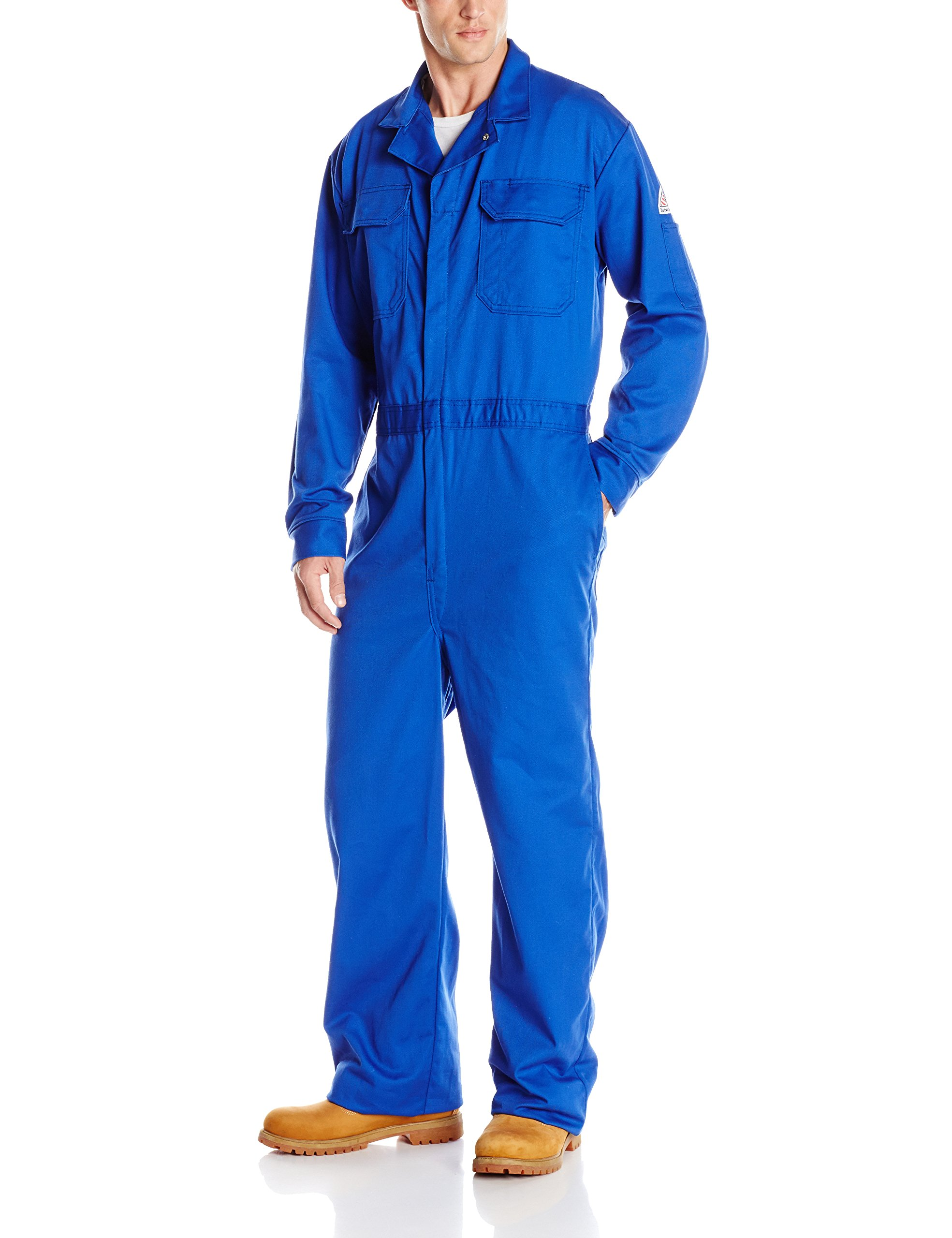 Bulwark Flame Resistant 9 oz Twill Cotton Long Deluxe Coverall with Concealed Snap Cuff, Royal Blue, 44 Long