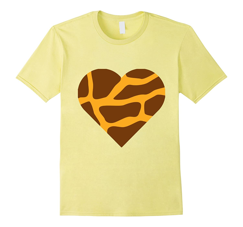 Love April The Giraffe - Giraffe Print Heart Icon T Shirt-FL