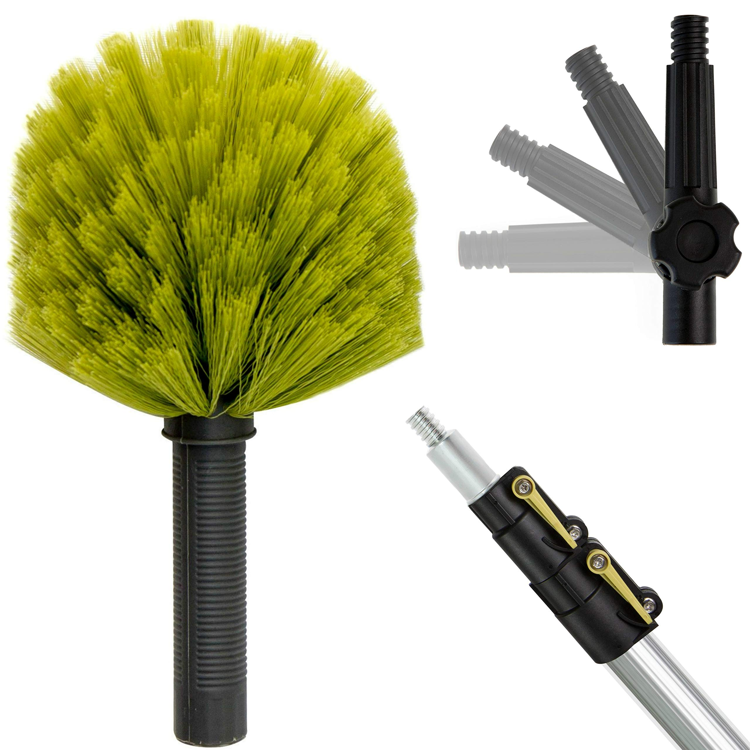 DocaPole 5-12 Foot Extension Pole with Cobweb Duster // Ceiling and Corner Duster // For Dusting and Cleaning High Ceilings and Corners with Extension Pole // Telescopic Pole Dusting and Cleaning Kit by DOCAZOO