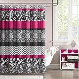 "Mizone MZ70-350 Mi Zone Reagan Microfiber Shower Curtain 72x72"" Pink,72x72"""