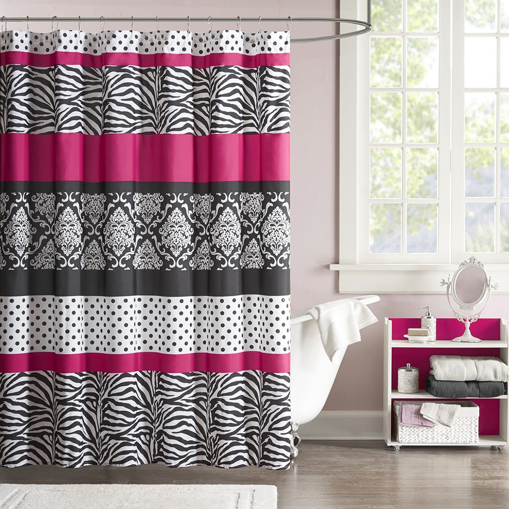 Mi Zone Reagan Print Stripes Kids Shower Curtain Zebra Curtains Bathroom 72 X Pink Black White