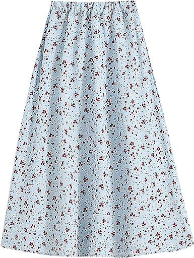Women's Fashion Casual Elastic Waist Vintage Printed Mid-Length with Pleated Large Hem A-line Skirt Loose Elegant Dress