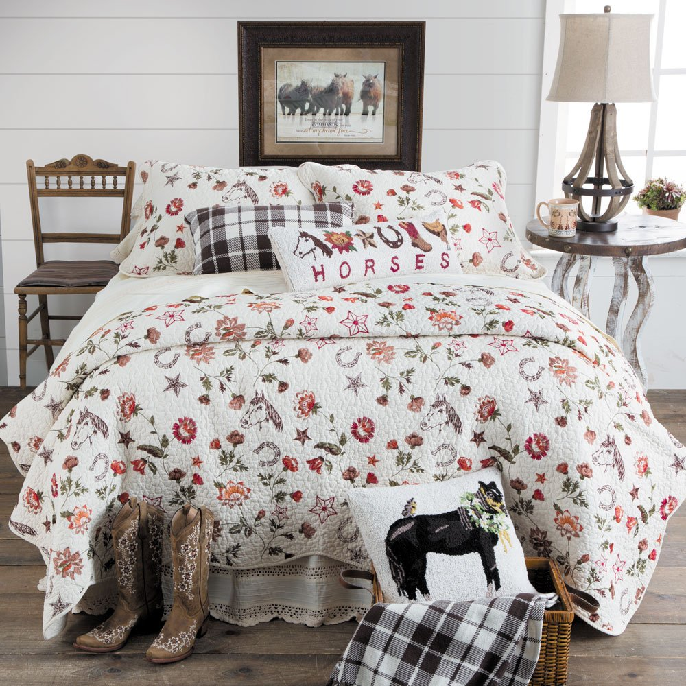 Rod's Western Vintage Horses Embroidered Quilt, Twin