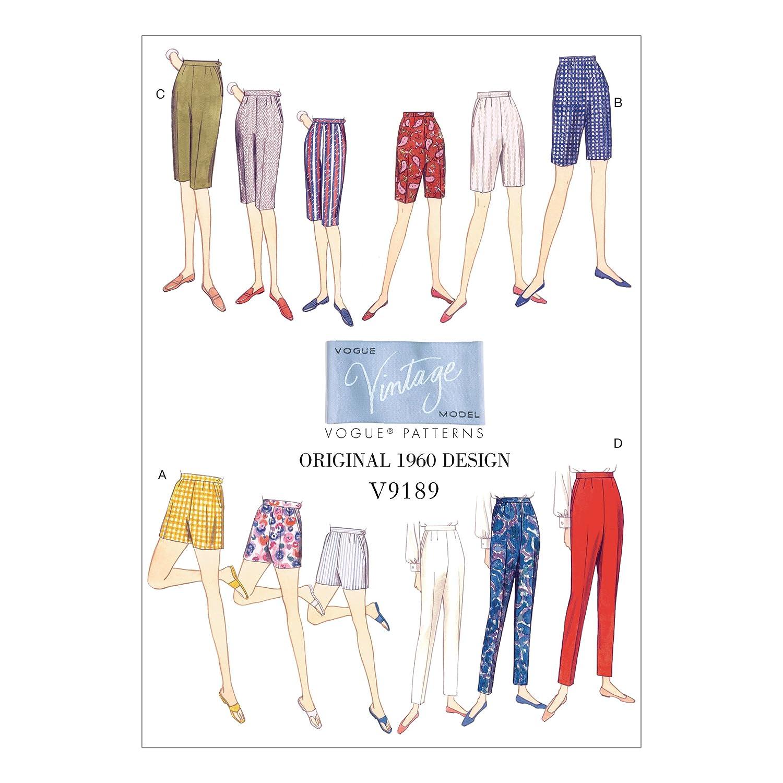 1960s – 70s Sewing Patterns- Dresses, Tops, Pants, Mens 1960 Vogue Patterns V9189E50 Misses Shorts and Tapered Pants 14-16-18-20-22 Orange $14.62 AT vintagedancer.com