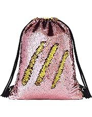 Deeplive Fashion Mermaid Drawstring Bag Magic Reversible Sequin Backpack  Glittering Dance Bag f3d31fc57671f