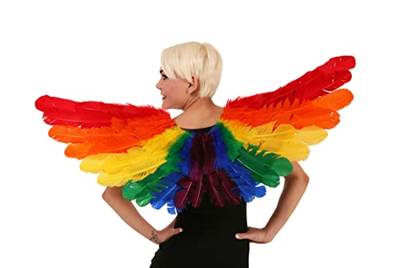 81a3cba38 Amazon.com: Adult Rainbow Feather Costume Wings - Large Angel Fairy Pride  Halloween-Cosplay Wing: Clothing