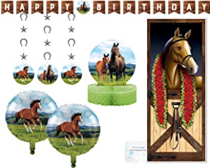 Horse Party Supplies and Decorations - Horse Birthday Banner, Hanging Decorations and Centerpiece - Horse Balloons and Door Cover - Perfect Horse Birthday Party Decorations and Pony Party Supplies!