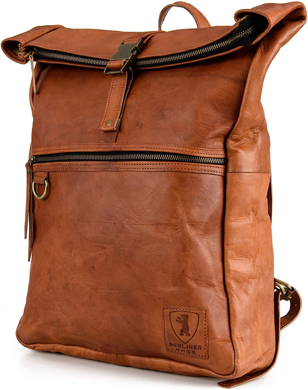 Berliner Bags Utrecht XL Leather Backpack Laptop Rucksack Men Women Retro Brown