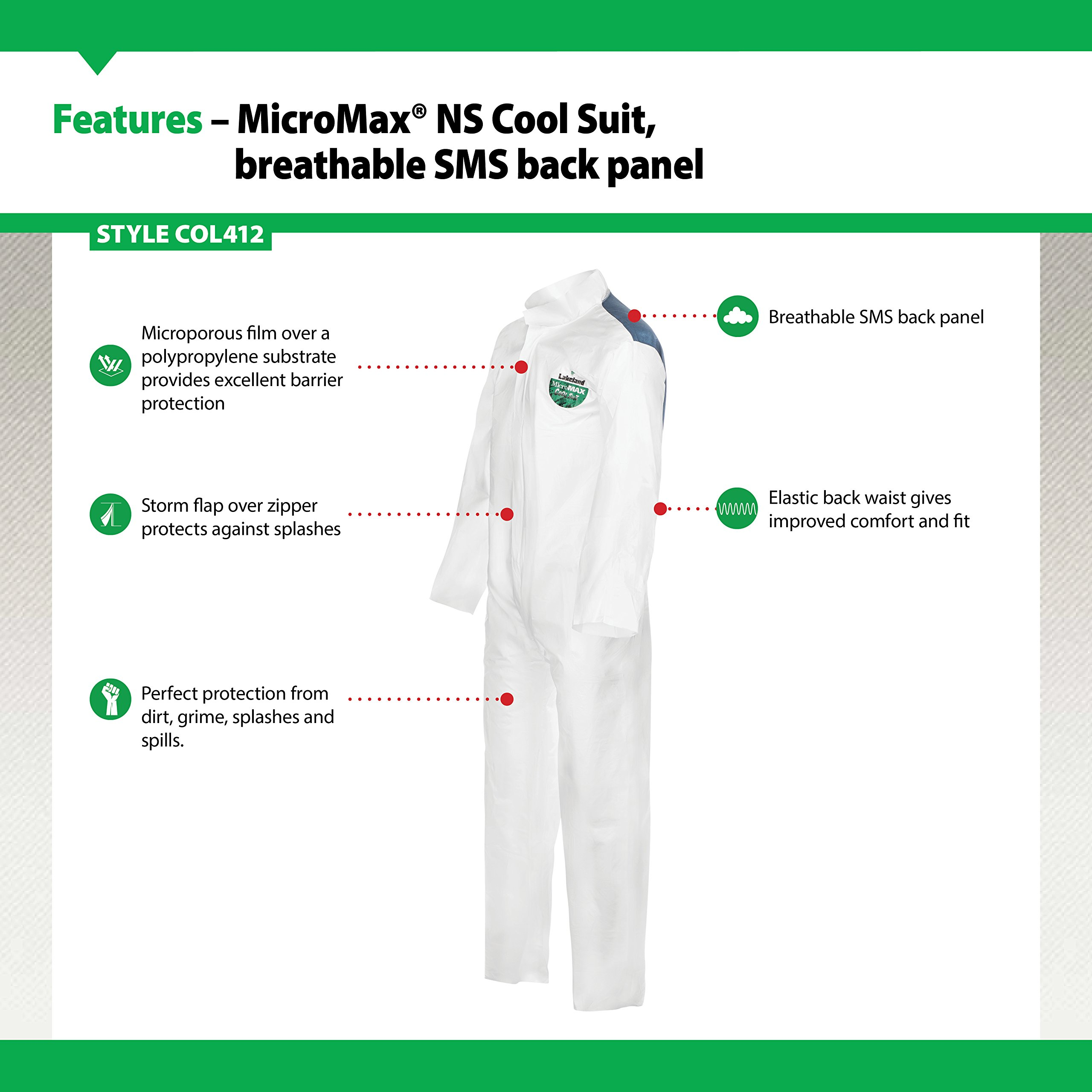 Lakeland MicroMax NS Cool Suit Microporous Coverall, Open Cuff, X-Large, White (Case of 25) by Lakeland Industries Inc (Image #3)