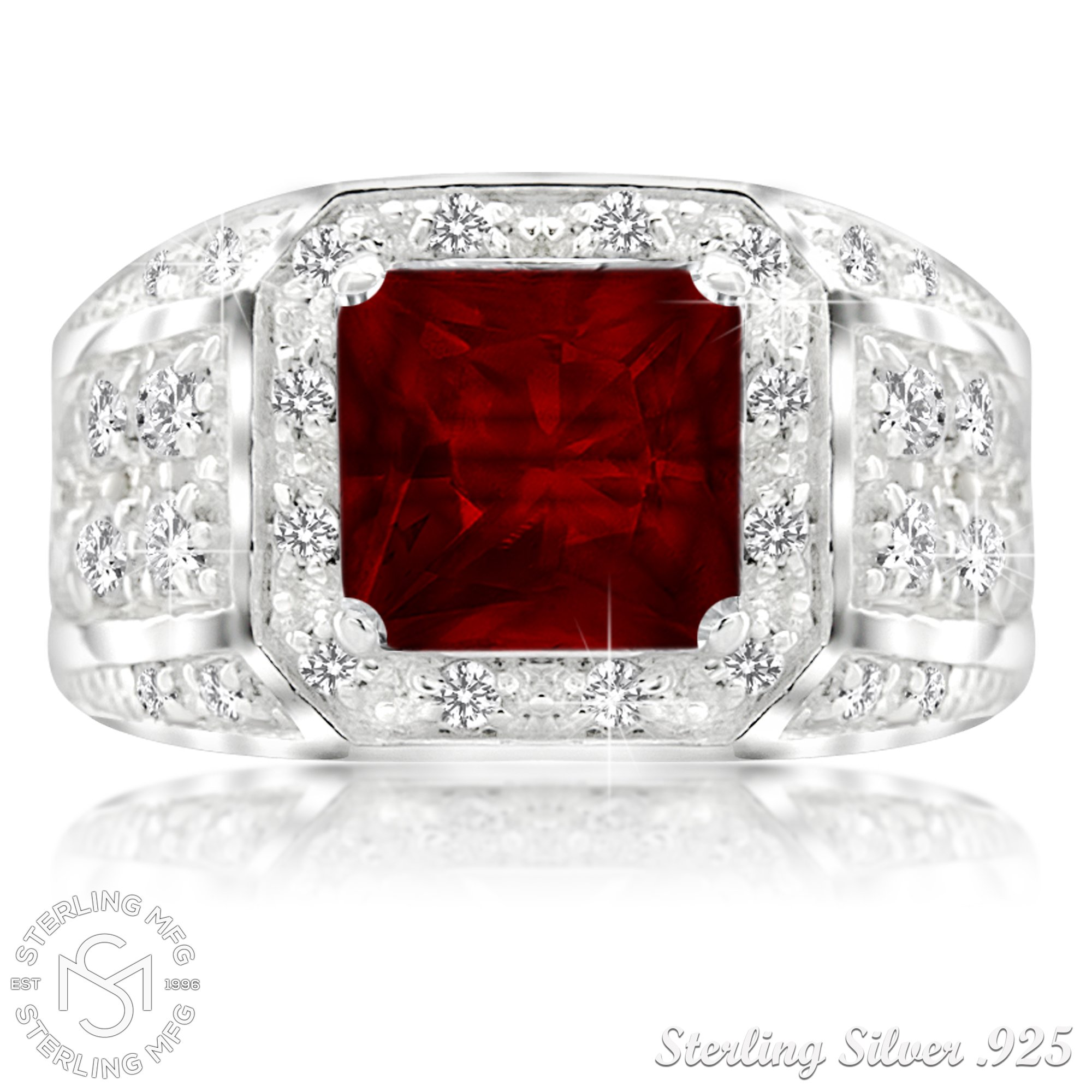Men's Sterling Silver .925 Princess-Cut Ring Featuring a Synthetic Red Ruby Surrounded by 32 Fancy Round Prong-Set Cubic Zirconia Stones, Perfect for the Holidays (12) by Sterling Manufacturers (Image #2)