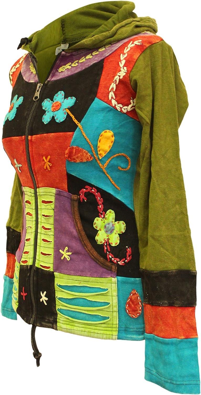 SHOPOHOLIC FASHION Mujer Flor bordado Patchwork Punty Ribs Sudadera