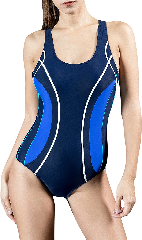 Uhnice Womens One Piece Swimsuits Racing Training Sports Athletic Swimwear