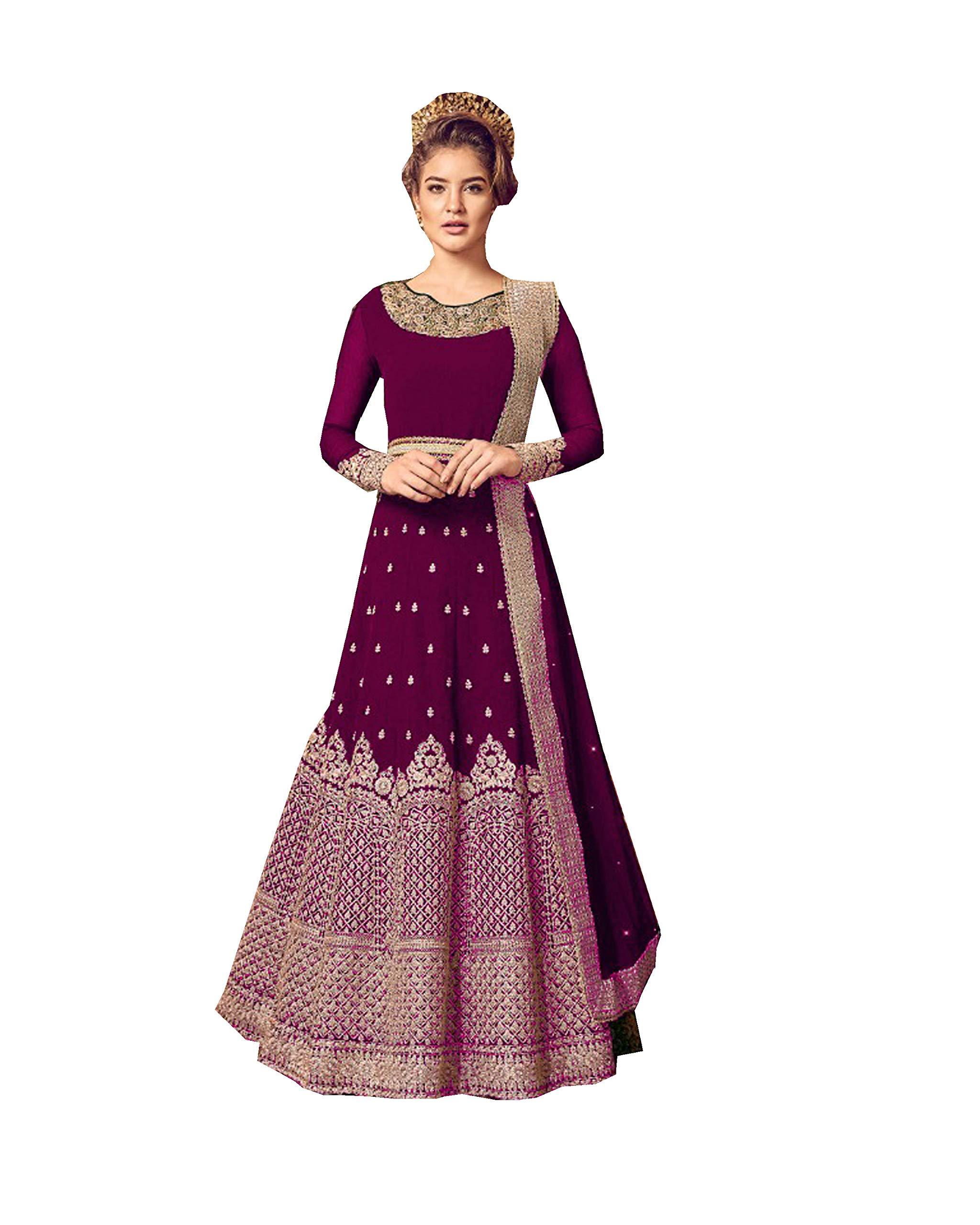 Indian/Pakistani Indian Wear & Ethnic Wear Anarkali Salwar Suit Anarkali Gown for Women Violate 5801 (Purpal, L-42)