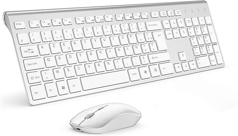 JOYACCESS - Teclado inalámbrico recargable, 2,4 GHz compacto, portátil silencioso, 2400 DPI ergonómico teclado para PC, Smart TV, ordenador (AZERTY ...