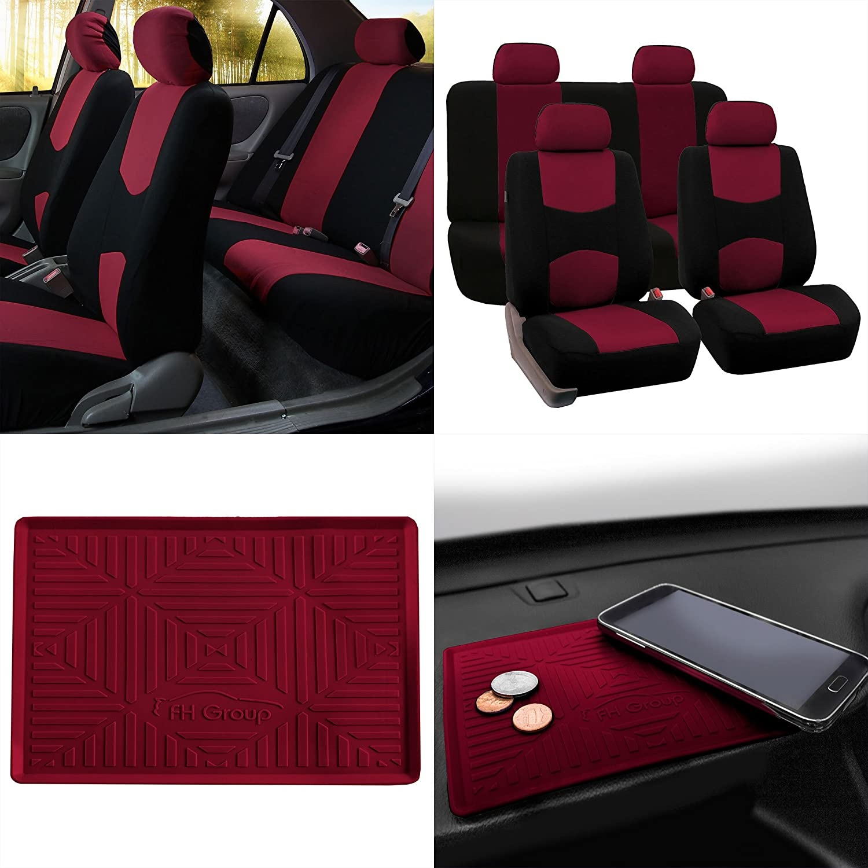 FH Group FB050114 Modern Flat Cloth Seat Covers w. FH3011 Anti-Slip Dashmat, Burgundy- Fit Most Car, Truck, SUV, or Van