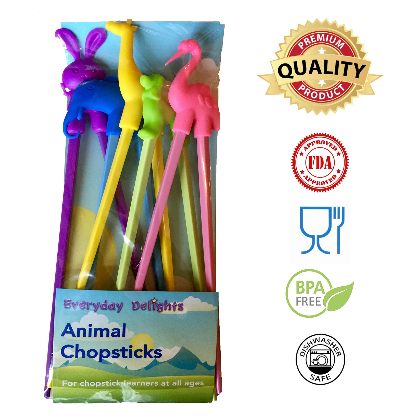 Everyday Delights Animal Training Chopstick Utensil Set / Chop Sticks (Rabbit, Flamingo, Giraffe, Dog & Elephant) for Children, Kids, Teens, Adults, 5 pairs - Cute, Eco-friendly, Reusable, Durable
