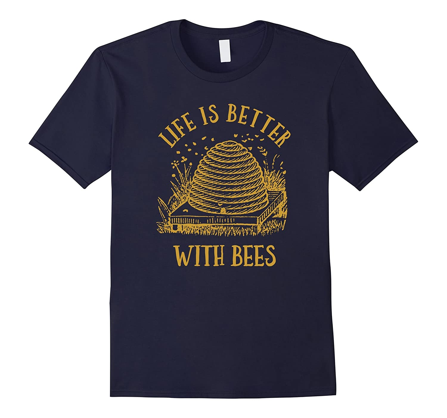 Vintage Beehive Life Is Better With Bees T-Shirt-BN