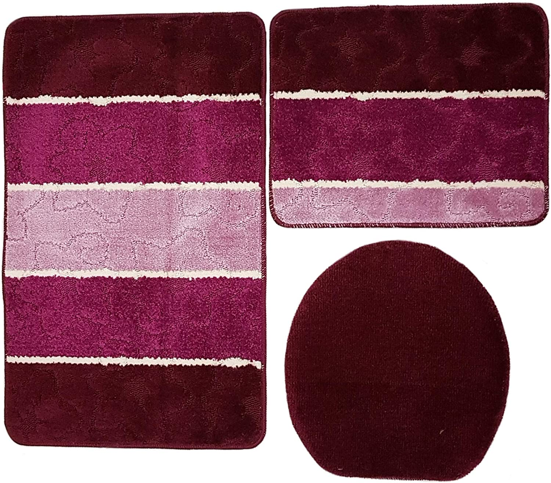 WC Vorleger ohne Ausschnitt f/ür H/änge-WC Set 60x100 cm Mehrfarbig gestreift Orion Badgarnitur 3 TLG Bordeaux rosa Flieder