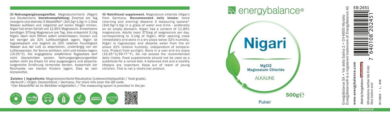 EnergyBalance Magnesio Cloruro de Magnesio-Nigari en Polvo 500g | Cloruro de Magnesio de salmuera cruda | Apto para diabéticos y veganos | Sin gluten y sin ...