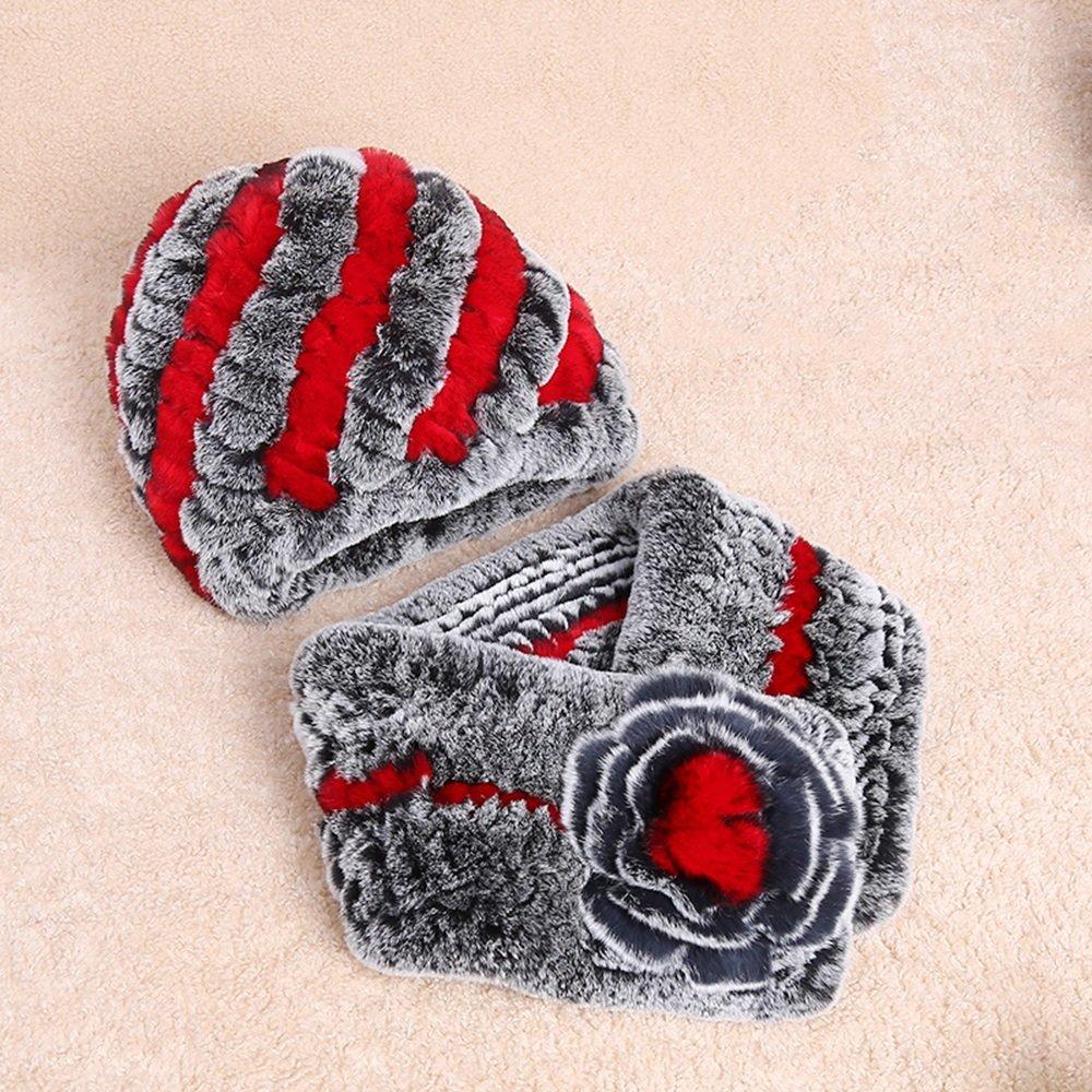 MEIDUO Bufandas y Chales Bufanda del sombrero de las mujeres bufanda engrosamiento del invierno caliente que teje madre de mediana edad con muchos colores ( Color : J , Tamaño : Hat+scarf )