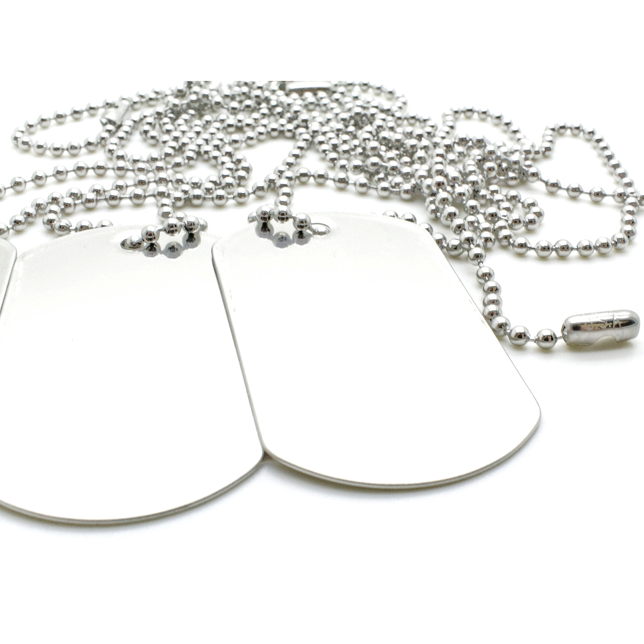 100 COMBO Matte Stainless Steel Military spec Dog Tags - BLANK with Stainless Steel Chains (100 dog tags w/ 30'' chains) by OnDepot.com