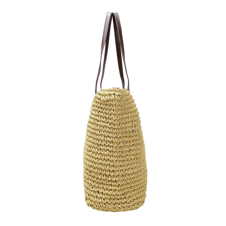 GSPStyle Women Straw Shoulder Beach Bag