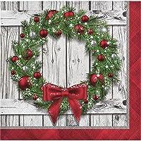 Creative Converting - Servilletas de Navidad con diseño de Corona rústica, Multicolor