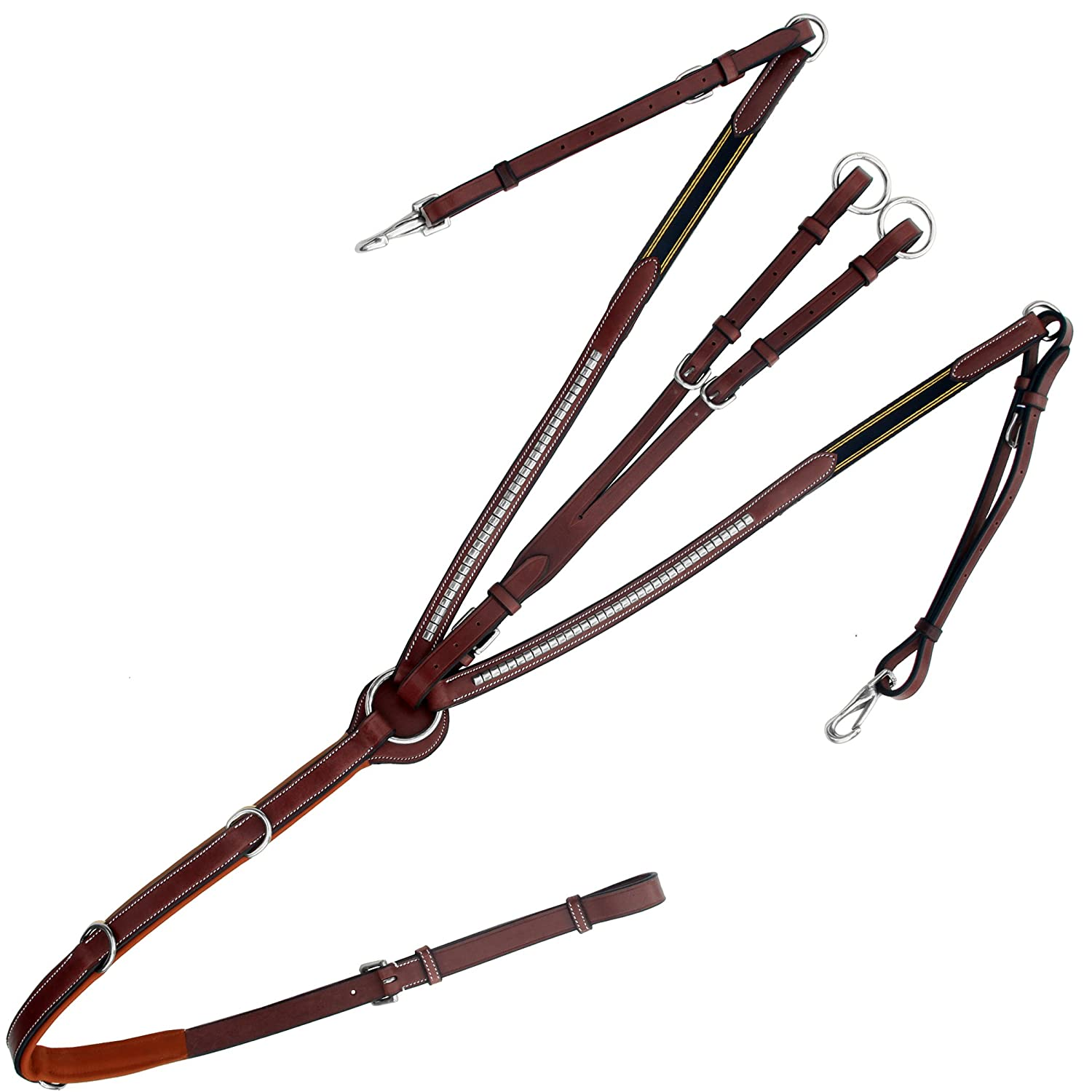 Oak Brown (Reddish Brown) Medium (Cob) Oak Brown (Reddish Brown) Medium (Cob) Exion Stainless Steel Clinched Padded Breast Plate with Running Attachment and Stainless Steel Buckles   Navy bluee Elastic with Yellow Lines   English Horse Riding Premium Tack