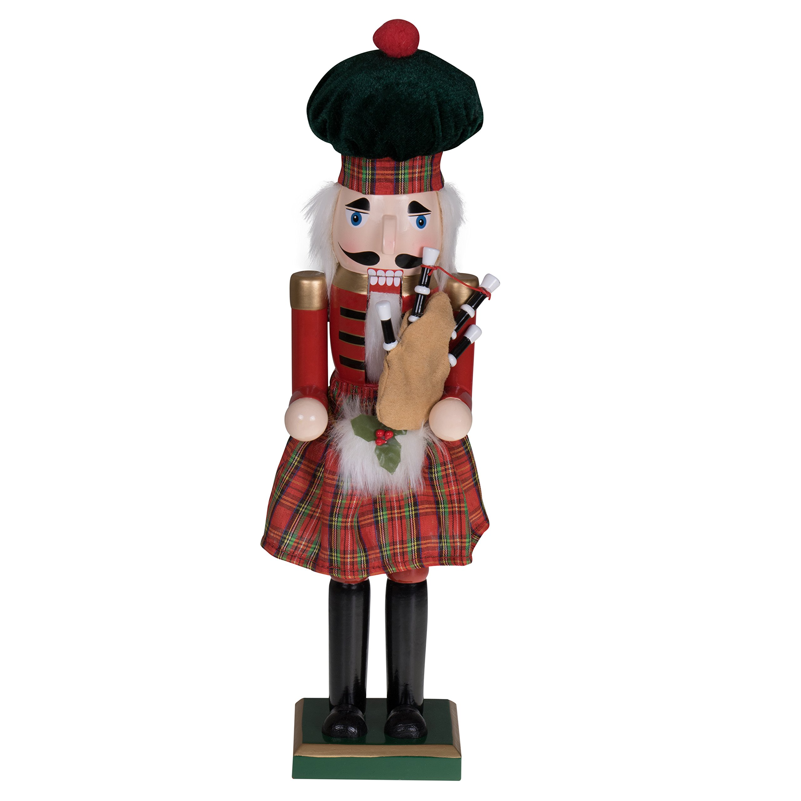 "Traditional Scottish Nutcracker by Clever Creations | Wearing Plaid Kilt, Green Hat and Holding Bagpipes | Festive Collectable Christmas Decor | Perfect for Shelves and Tables | 100% Wood | 15"" Tall"